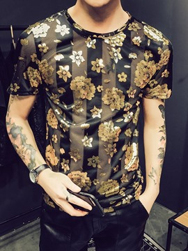 Ericdress Round Neck Floral Casual Slim Short Sleeve T-shirt
