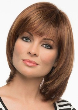 Ericdress Women's Short Bob Hairstyle With Bangs Straight Human Hair Lace Front Wigs 12Inch