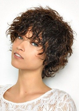 Ericdress Short Curly Bob Hairstyle Women's Kinky Curly Human Hair Wigs Lace Front Wigs With Bangs 10Inch