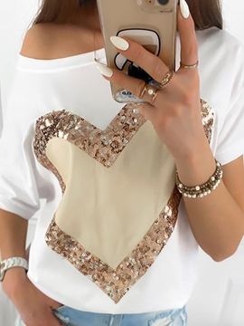 Ericdress Short Sleeve Heart Shaped Standard Casual Loose T-Shirt