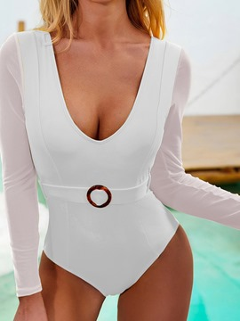 Ericdress Women's Sexy Plain One Piece Swimwear