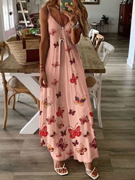 Ericdress Print Sleeveless V-Neck High Waist Travel Look Dress