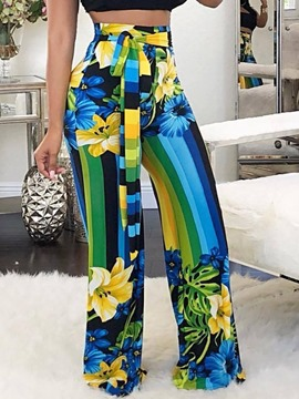 Ericdress Print Floral Loose Full Length Casual Pants