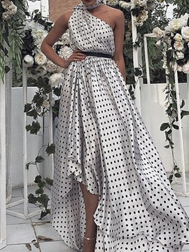 Ericdress Backless Floor-Length Sleeveless Summer Polka Dots Dress