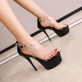 Ericdress Buckle Stiletto Heel Heel Covering Plain Sandals