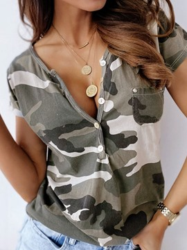 Ericdress Standard Short Sleeve Camouflage Slim Casual T-Shirt