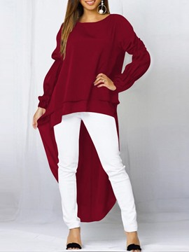 Ericdress Lantern Sleeve Round Neck Plain Long Sleeve Long Blouse