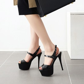 Ericdress Buckle Peep Toe Stiletto Heel Platform Sandals