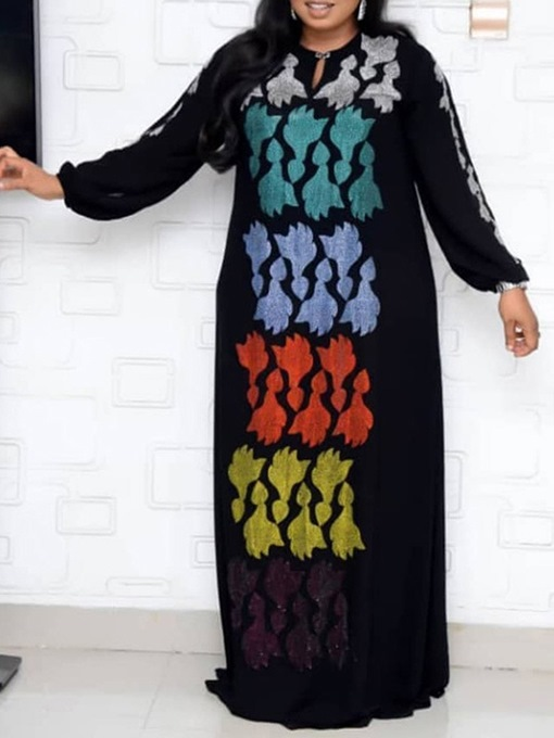 Ericdress Floor-Length Rhinestone Long Sleeve Lantern Sleeve Color Block Dress