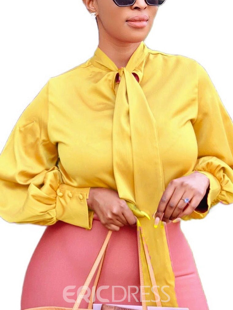 Ericdress Plain Bowknot Stand Collar Standard Long Sleeve Blouse