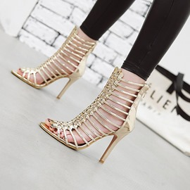 Ericdress Zipper Stiletto Heel Open Toe Zipper Sandals