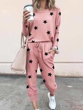 Ericdress Pocket Casual Pullover Round Neck Pajama Suit