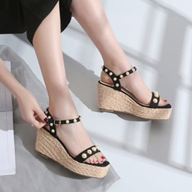 Ericdress Open Toe Ankle Strap Wedge Heel Color Block Sandals