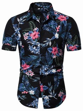 Ericdress Print Lapel Floral Single-Breasted Men's Shirt