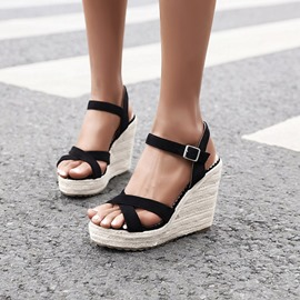 Ericdress Buckle Open Toe Wedge Heel Buckle Sandals
