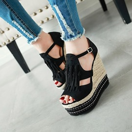 Ericdress Wedge Heel Buckle Peep Toe Low-Cut Upper Sandals