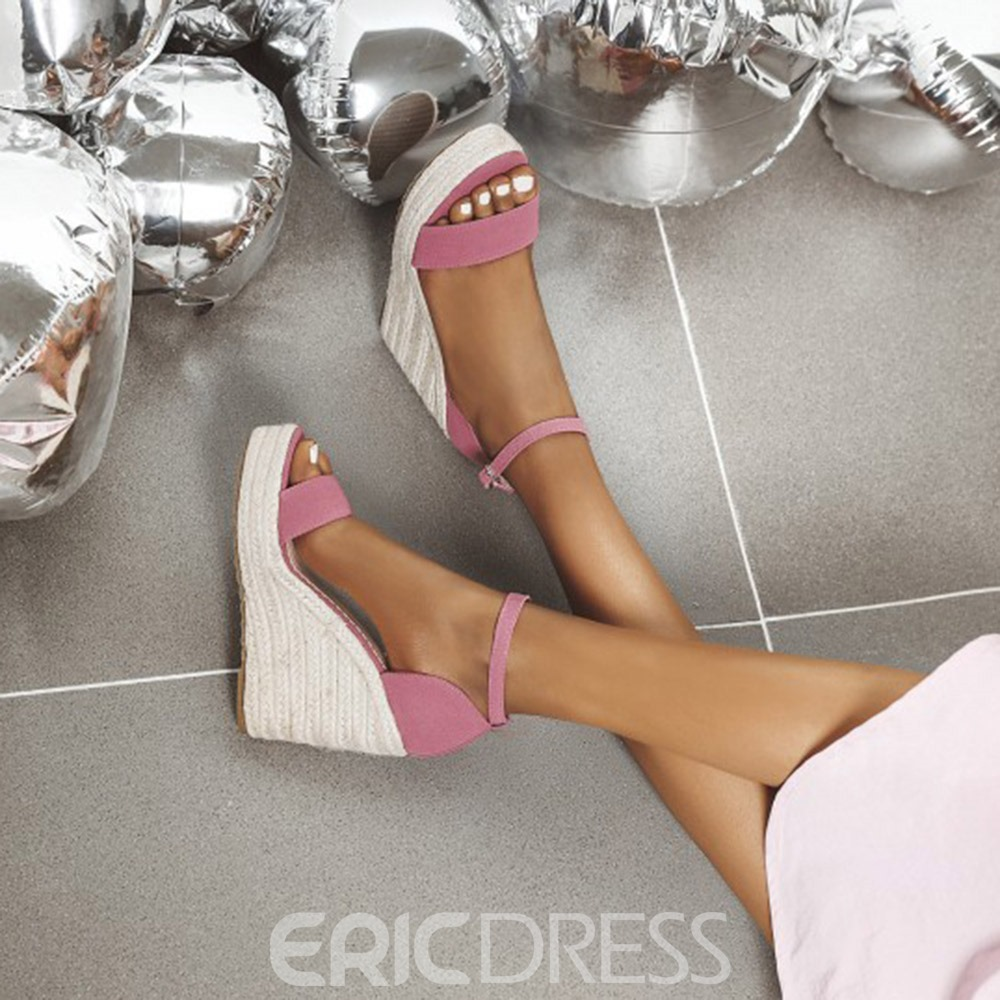 Ericdress Open Toe Buckle Wedge Heel Mid-Cut Upper Sandals
