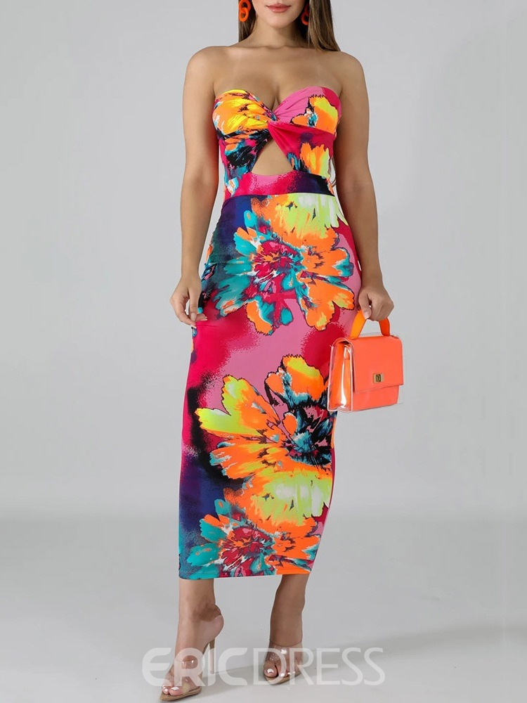 Ericdress Hollow Mid-Calf Sleeveless Floral Summer Dress