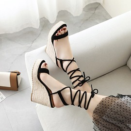 Ericdress Open Toe Lace-Up Wedge Heel Lace-Up Sandals