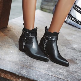 Ericdress Slip-On Pointed Toe Plain PU Boots