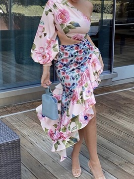 Ericdress Print Shirt Floral Asymmetrical Pullover Two Piece Sets