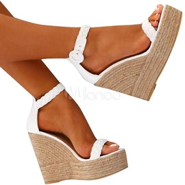 Ericdress Buckle Wedge Heel Open Toe Platform Sandals