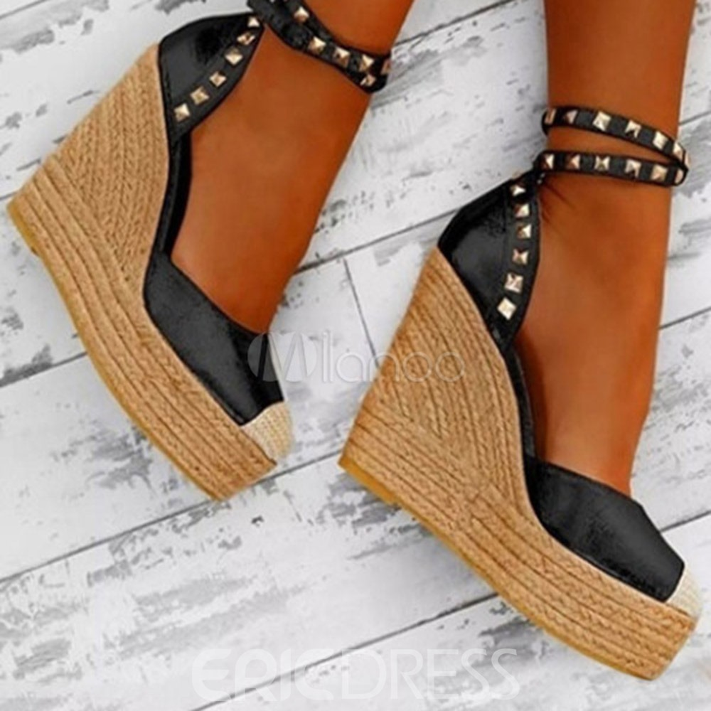 Ericdress Closed Toe Beads Wedge Heel Patchwork Thin Shoes