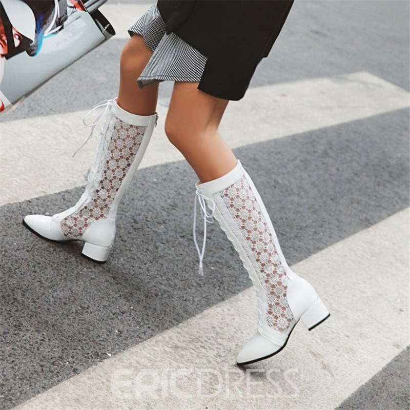 Ericdress Plain Pointed Toe Back Zip Casual Boots
