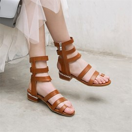 Ericdress Zipper Open Toe Plain Sandals