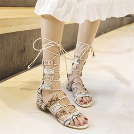 Ericdress Zipper Open Toe Serpentine Sandals