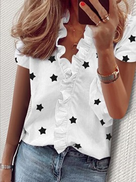 Ericdress Star Print V-Neck Standard Short Sleeve Blouse
