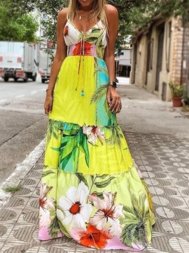 Ericdress Floor-Length V-Neck Print Vintage Floral Dress