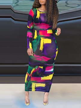 Ericdress Long Sleeve Ankle-Length Print Color Block Sheath Dress