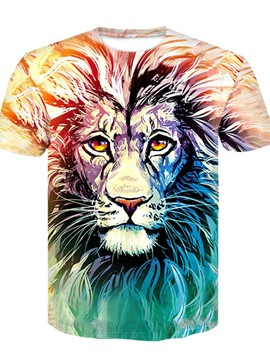 Ericdress Animal Print Round Neck Short Sleeve Pullover Men's T-shirt