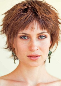 Ericdress Messy Look With Short Hair Women's Shaggy Hairstyle Straight Human Hair Lace Front Wigs 8Inch