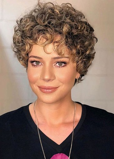 Ericdress Women's Short Curly Bob Hairstyle Synthetic Hair Capless Wigs 8Inch