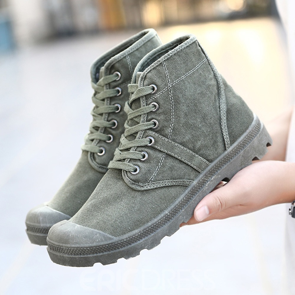 Ericdress Round Toe Lace-Up Front Plain Canvas Boots