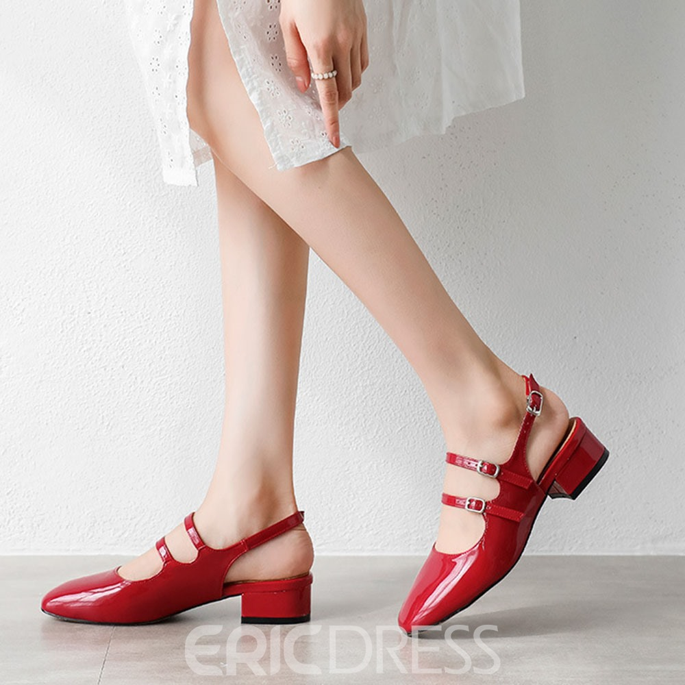 Ericdress Buckle Chunky Heel Closed Toe Korean Sandals