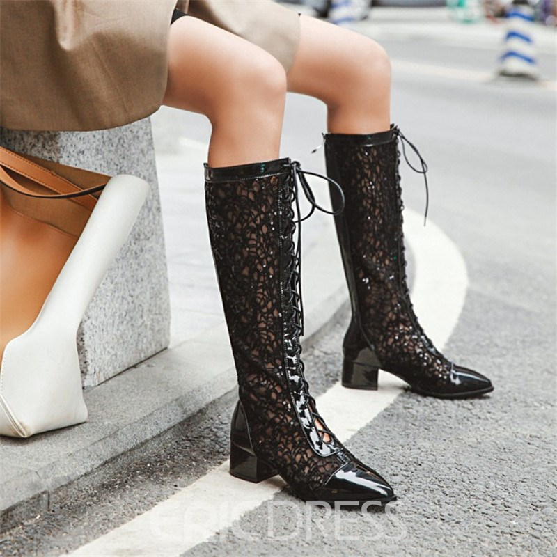 Ericdress Back Zip Patchwork Pointed Toe PU Boots