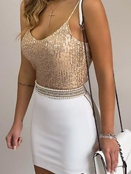 Ericdress Spaghetti Straps Sequins Short Tank Top