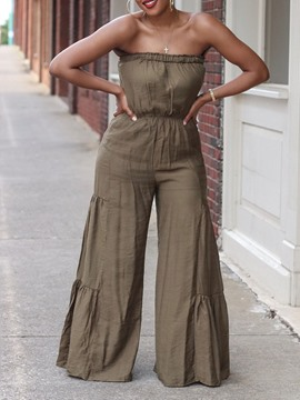 Ericdress Full Length Plain Pleated Wide Legs Mid Waist Jumpsuit