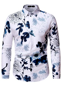 Ericdress Lapel Floral Print Men's Fall Shirt