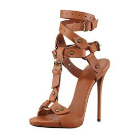 Ericdress Open Toe Buckle Slingback Strap Rivet Sandals