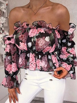 Ericdress Off Shoulder Print Floral Long Sleeve Standard Blouse