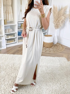 Ericdress Floor-Length Round Neck Belt Summer Elegant Dress