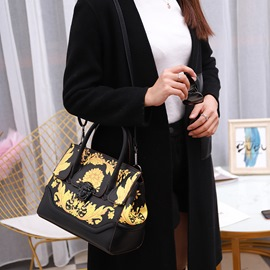 Ericdress PU Floral Print Rectangle Tote Bags