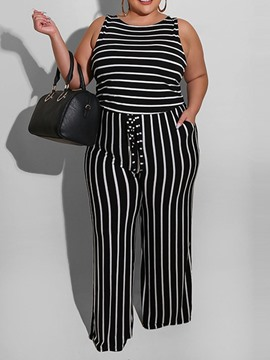 Ericdress Stripe Full Length Wide Legs Slim Jumpsuit