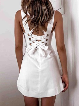 Ericdress Above Knee Backless Sleeveless A-Line Summer Dress