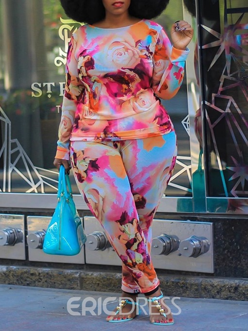 Ericdress Print Western Ankle Length Pants Round Neck Pencil Pants Two Piece Sets