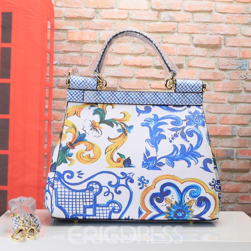 Ericdress Floral Print PU Rectangle Tote Bags